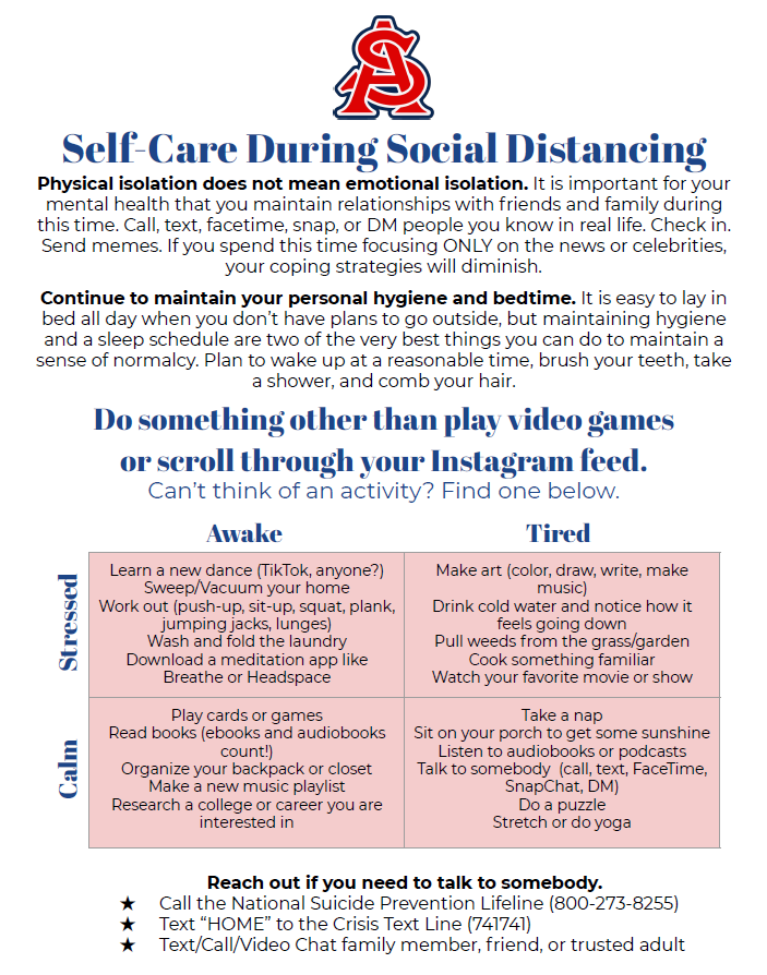 Selfcare while social distancing