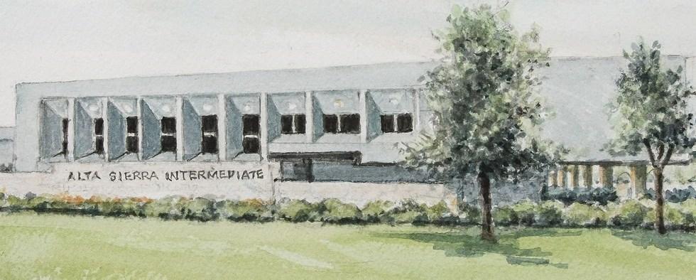 Watercolor of school exterior