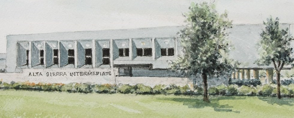 Watercolor of school exterior